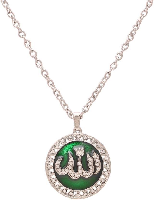 Dzinetrendz Silver plated Green Enamel CZ Allah word in Urdu muslim