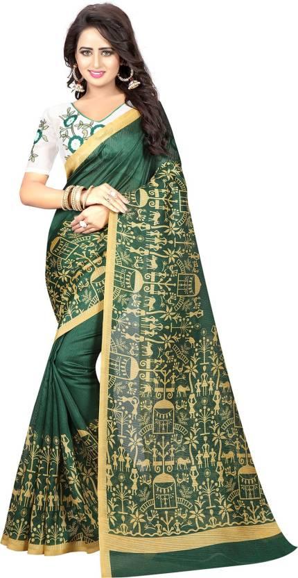 a7353b74318 Buy Ishin Printed Mysore Art Silk Green Sarees Online   Best Price ...