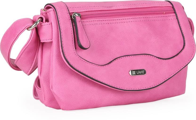Lavie Women Pink PU Sling Bag