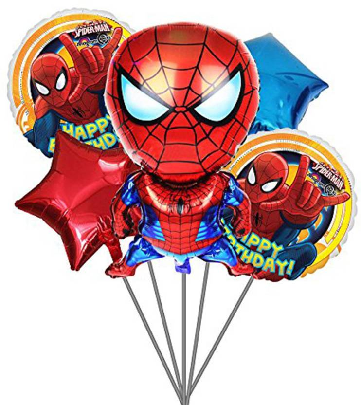 PARTY PROPZ Solid SPIDER MAN THEME FOIL BALLOON BOUQUET SET OF 5 SPIDERMAN BIRTHDAY