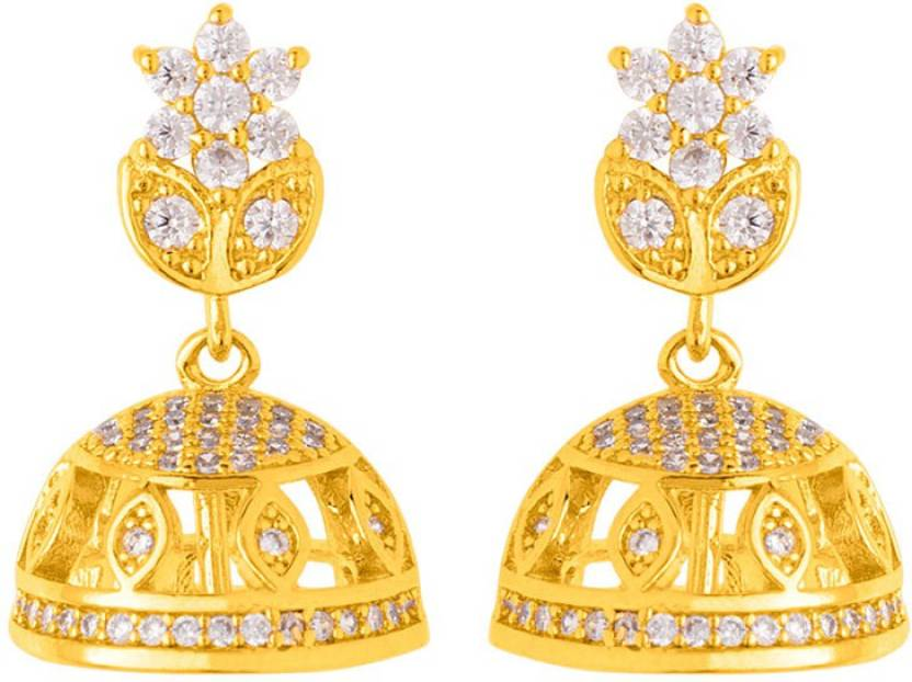 3ec6341e8 Flipkart.com - Buy Voylla Delicate Gold Plated Floral Jhumka Earrings Cubic  Zirconia Brass Jhumki Earring Online at Best Prices in India