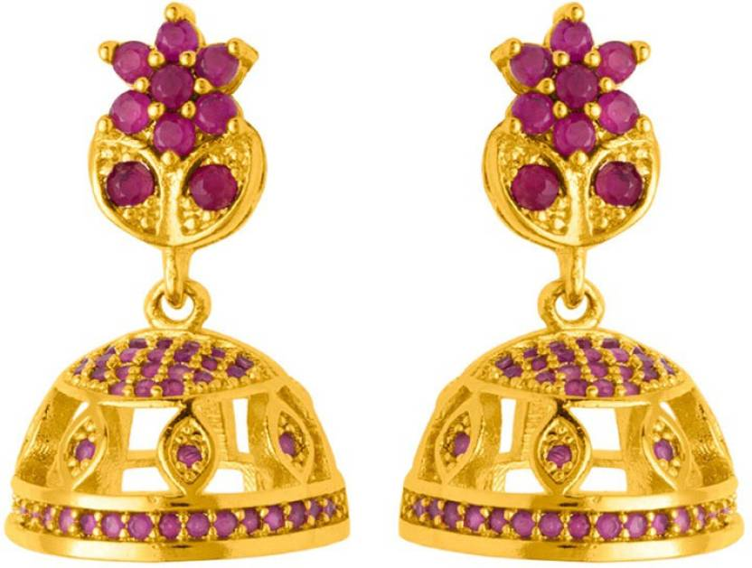 e454ac01d Flipkart.com - Buy Voylla Tiny Floral Gold Plated Jhumka Earrings Cubic  Zirconia Brass Jhumki Earring Online at Best Prices in India