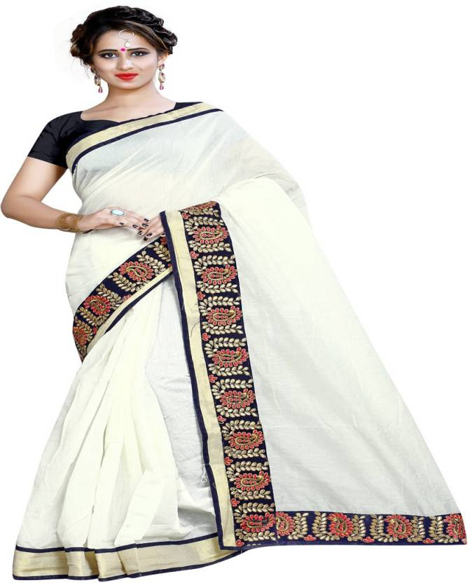 bfce2fde4 Buy Radiance Star Plain Chanderi Cotton White Sarees Online   Best ...