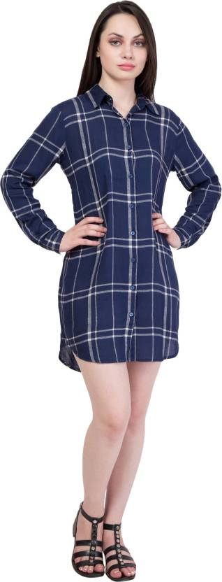 Hive91 Women Checkered Casual Blue Shirt