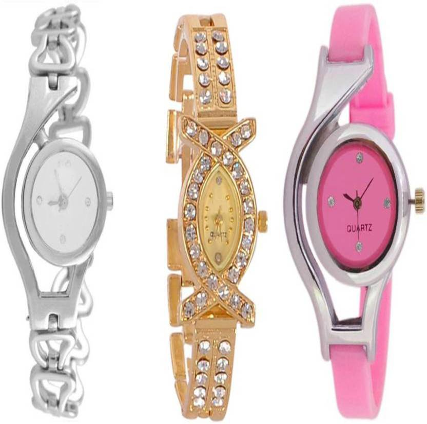 Gopal Retail GLORY Silver Chain Aks Golden And Pink Stylish Combo ...