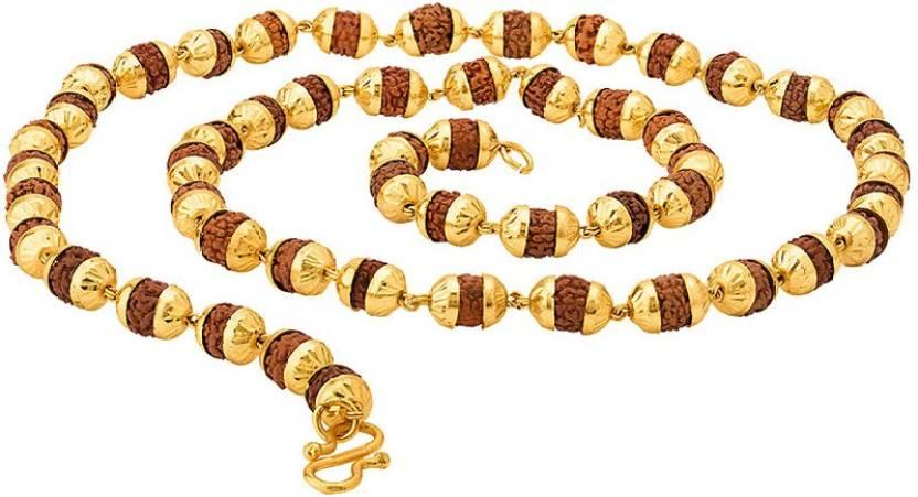 52b550e9ddffd Voylla Faux Rudraksha Studded Chain for Men Gold-plated Plated Brass ...
