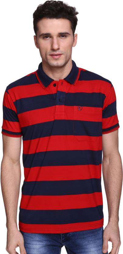 f2fd8bbe Illicit Nation Striped Men Polo Neck Red, Dark Blue T-Shirt - Buy Red  Illicit Nation Striped Men Polo Neck Red, Dark Blue T-Shirt Online at Best  Prices in ...