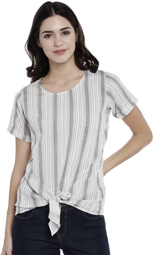 fff3cd2035803 Athena Casual Half Sleeve Striped Women s Black