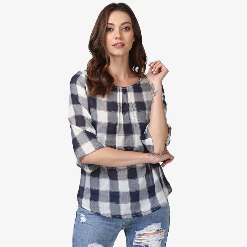 Ellemora Casual Bell Sleeve Checkered Women Blue Top