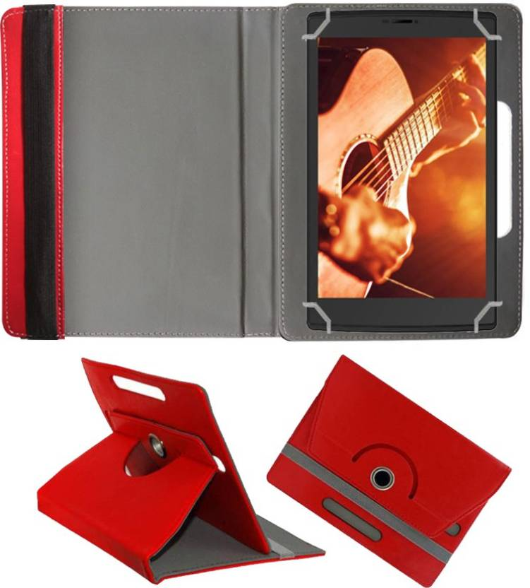 Fastway Book Cover for Micromax Canvas Tab P681 Red, Cases with Holder