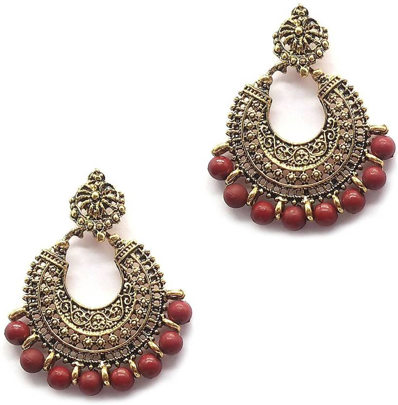 Ikraft Oxidized German Gold Finish Chandbali Earrings With Brown Color Beads Antique Chandelier For Women