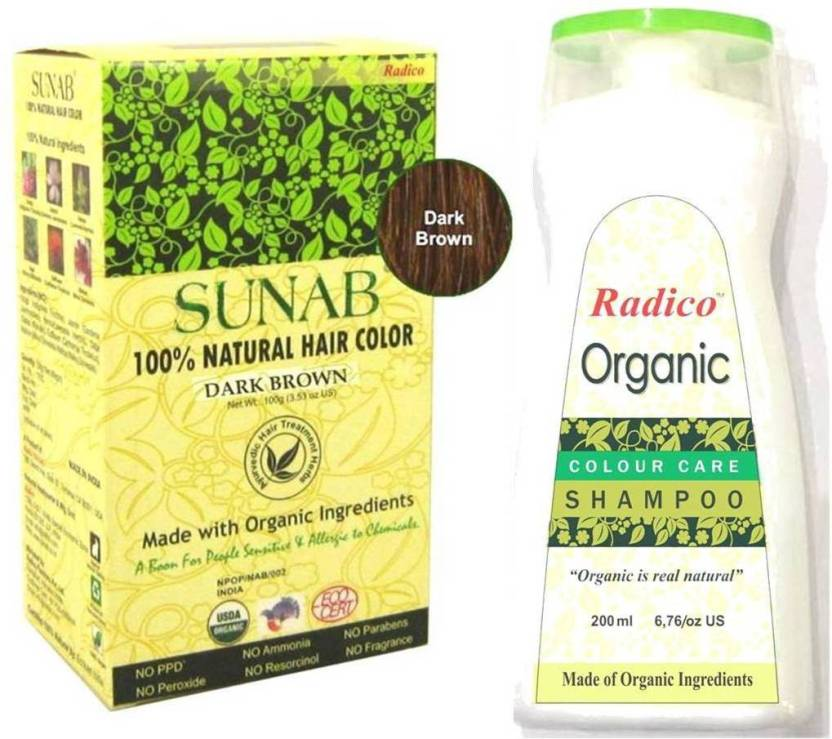 Radico Sunab 100% USDA Certified Organic Hair Color ( Dark Brown ...