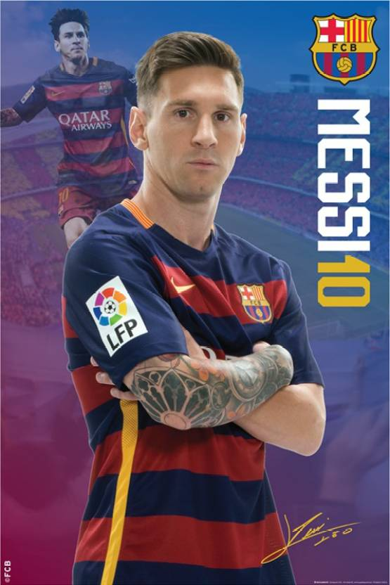 new concept 62478 08acf FCB Mini Poster Messi 18 Paper Print - Sports posters in ...