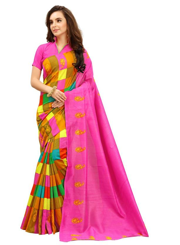 4c2d832976 Buy Fabland Printed Bollywood Cotton Silk Multicolor Sarees Online ...