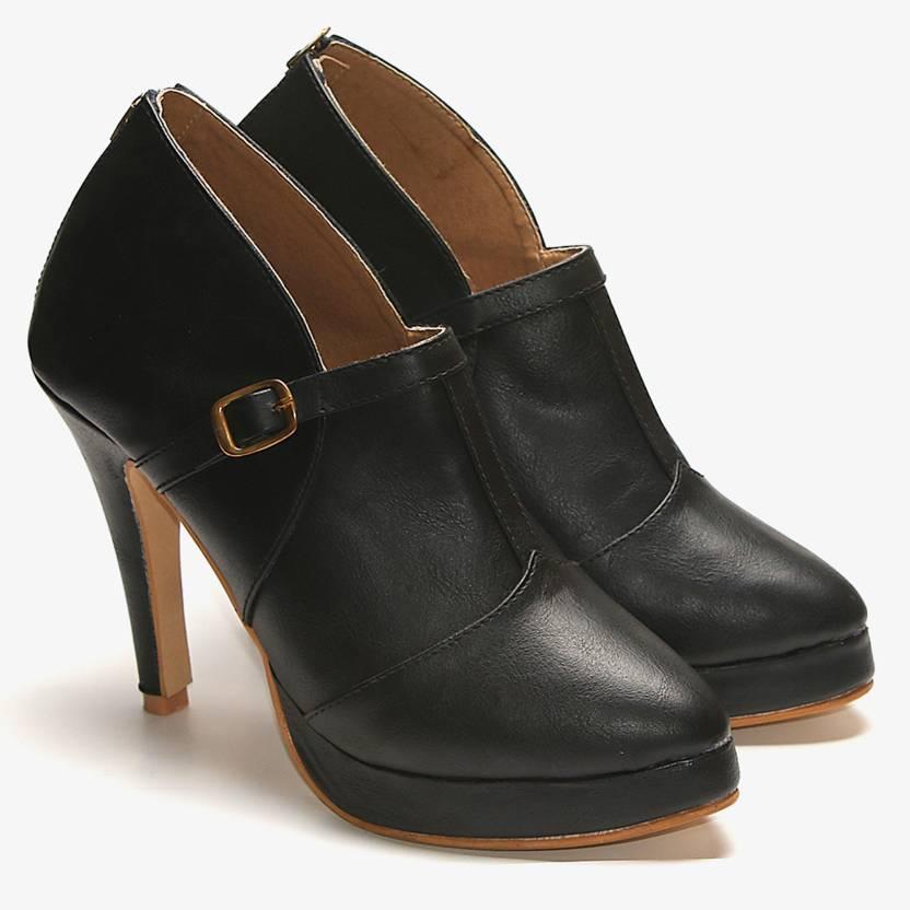 TEN Black Pencil Heel Boots Party Wear For Women