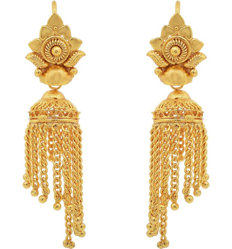 cefd55d32 Flipkart.com - Buy DZINETRENDZ Gold plated Traditional Round shape small  cute Jhalar Jhumki Women Brass Jhumki Earring Online at Best Prices in India