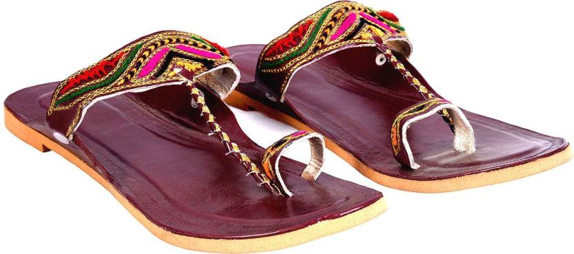 c865cb6bb Halowishes Halowishes Women Rajasthani Sequin Work Colorful Heel Chappal  Casuals For Women