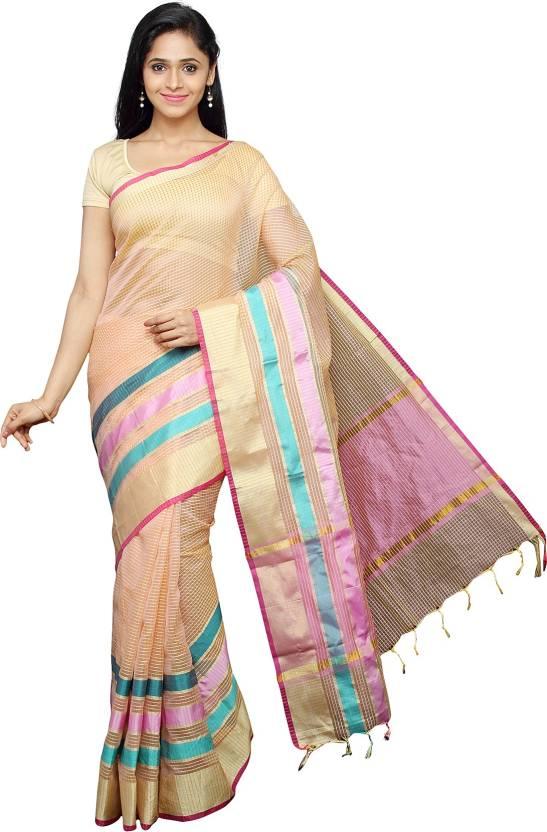 Divastri Checkered Banarasi Silk Cotton Blend Saree