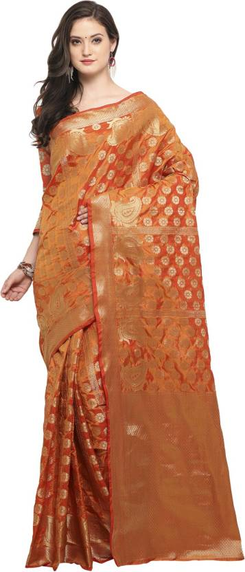 ff3b9d9ec3d067 Buy Bhelpuri Embellished Fashion Tussar Silk Orange Sarees Online ...