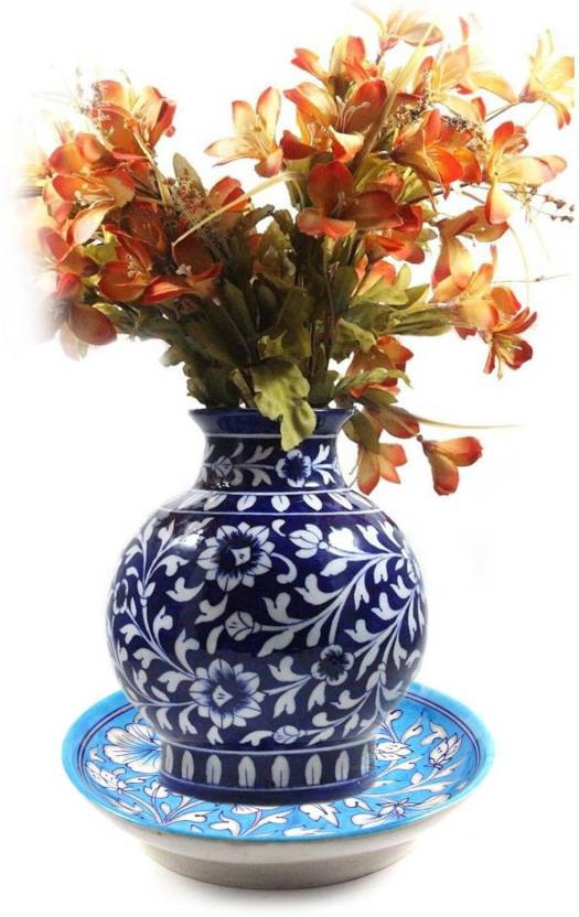 India Meets India Blue Pottery Handmade Ceramic Floral Design Flower on figurines for sale, plants for sale, marble for sale, chocolates for sale, artificial flowers for sale, clear flower vases on sale, porcelain flowers for sale, flower bouquets for sale, bar accessories for sale, flower buckets for sale, flower vessels for sale, flower art for sale, glass for sale, jugs for sale, flower swags for sale, candlesticks for sale, dry flowers for sale, home decor for sale, tiles for sale, stands for sale,