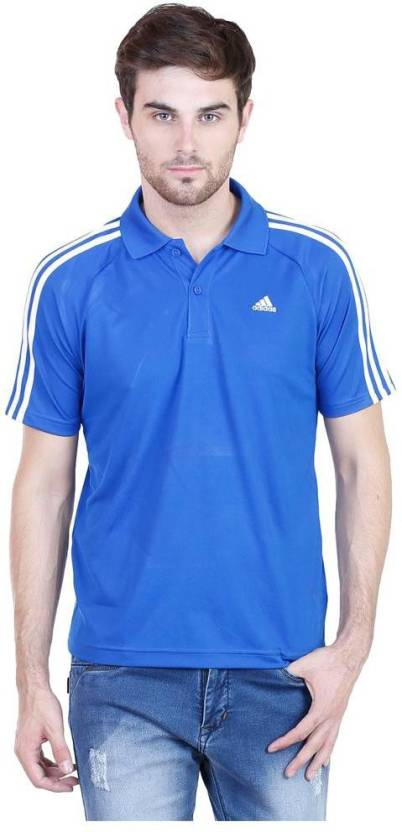 7f719c87 ADIDAS Solid Men's Polo Neck Blue T-Shirt - Buy ADIDAS Solid Men's Polo  Neck Blue T-Shirt Online at Best Prices in India | Flipkart.com