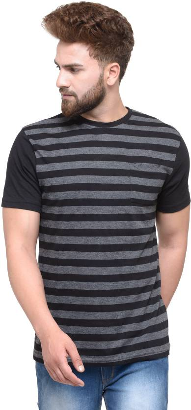 Teesort Striped Mens Round Neck Grey T-Shirt