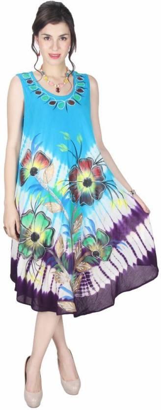 6318659a Crease & Clips Women's High Low Light Blue Dress