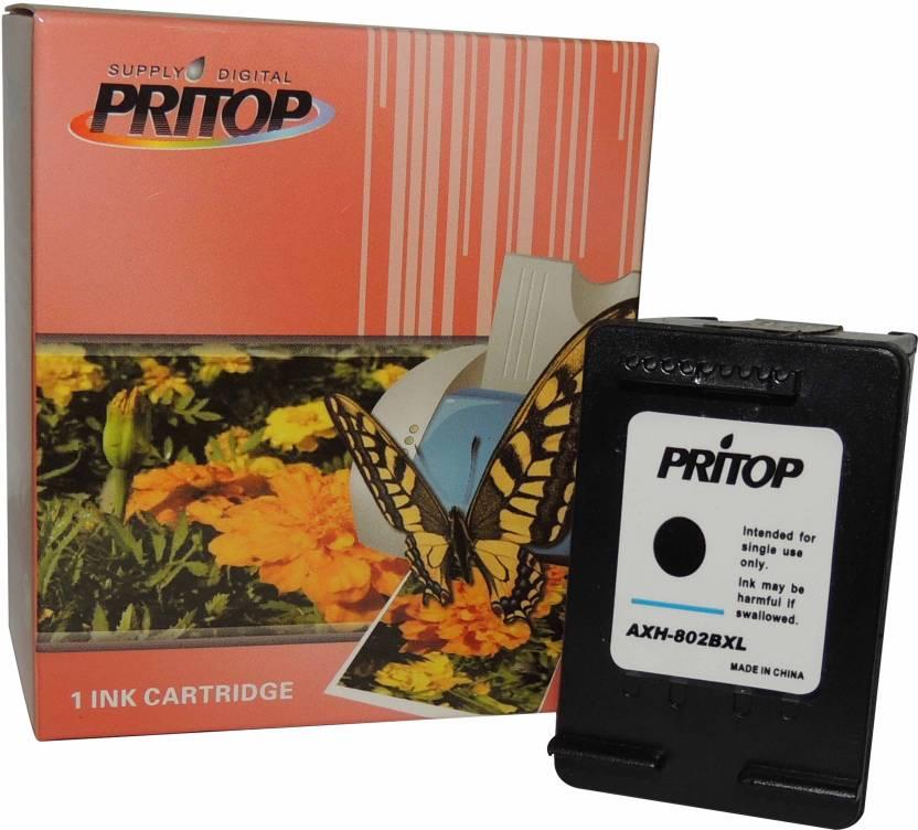 Pritop - 802 XL - Black inkjet cartridge for HP Deskjet 1000 (J110a) 1050  2000 (J210a) 2050 1050A 2050A 3000 3050 1010, 1510 Office jet 2620 4630