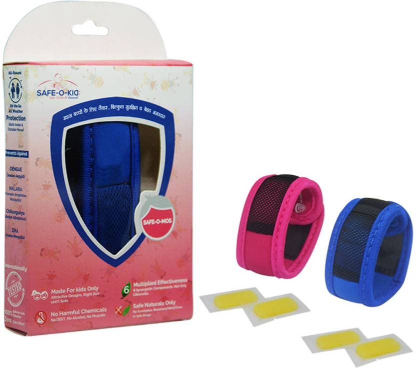 Safe O Kid Set Of 2 Blue Pink Anti Mosquito Band 4 Refills 6