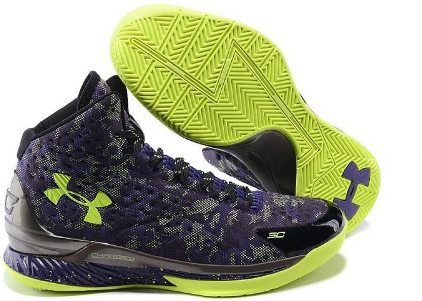d9cd6fbf2cc Under Armour Curry 1 All Star Dark Matter Purple Yellow Basketball Shoes  For Men