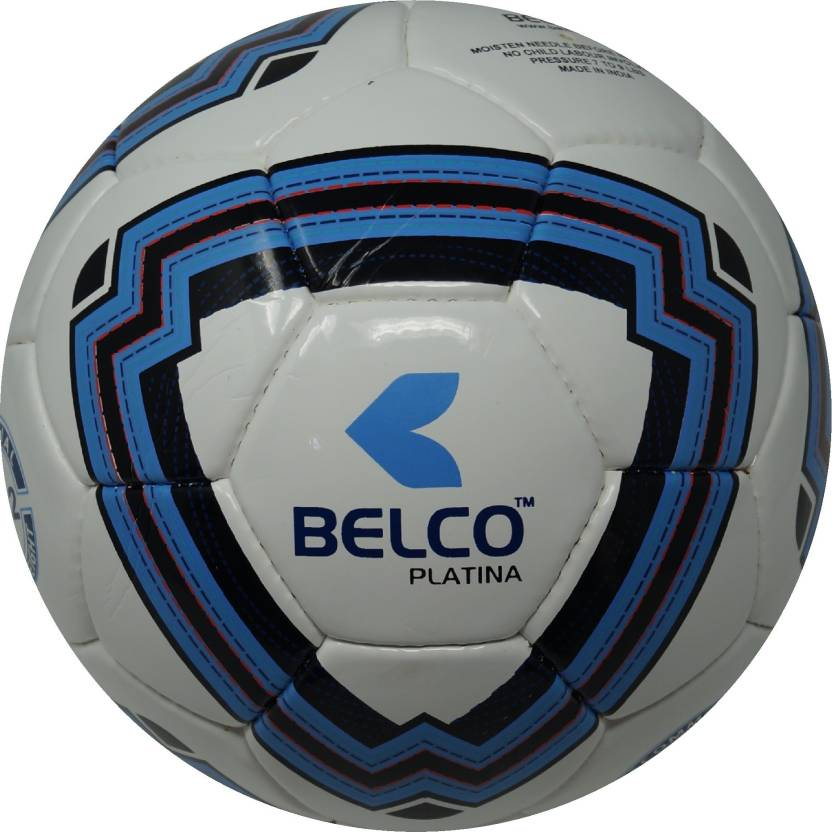 BELCO PLATINA 1 WHITE BLUE  Football   Size: 5 Pack of 1, White, Blue BELCO Footballs