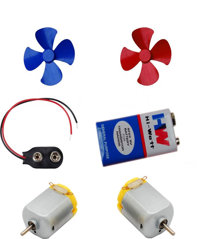 APTECHDEALS 2 Pcs Mini Toy Motor + 2 pcs Fan blade for RC Car, toys