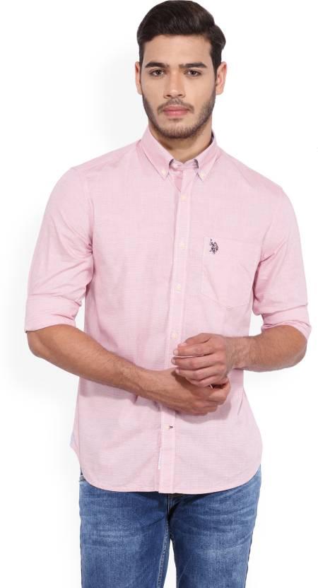 cf5bbb6b4 U.S. Polo Assn Men s Striped Casual Pink Shirt - Buy MENS SHIRT U.S. Polo  Assn Men s Striped Casual Pink Shirt Online at Best Prices in India
