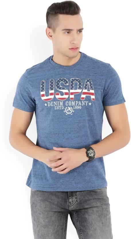 1e08b6d0f U.S. Polo Assn Self Design Men's Round Neck Blue T-Shirt - Buy NAVY SLUB U.S.  Polo Assn Self Design Men's Round Neck Blue T-Shirt Online at Best Prices  in ...