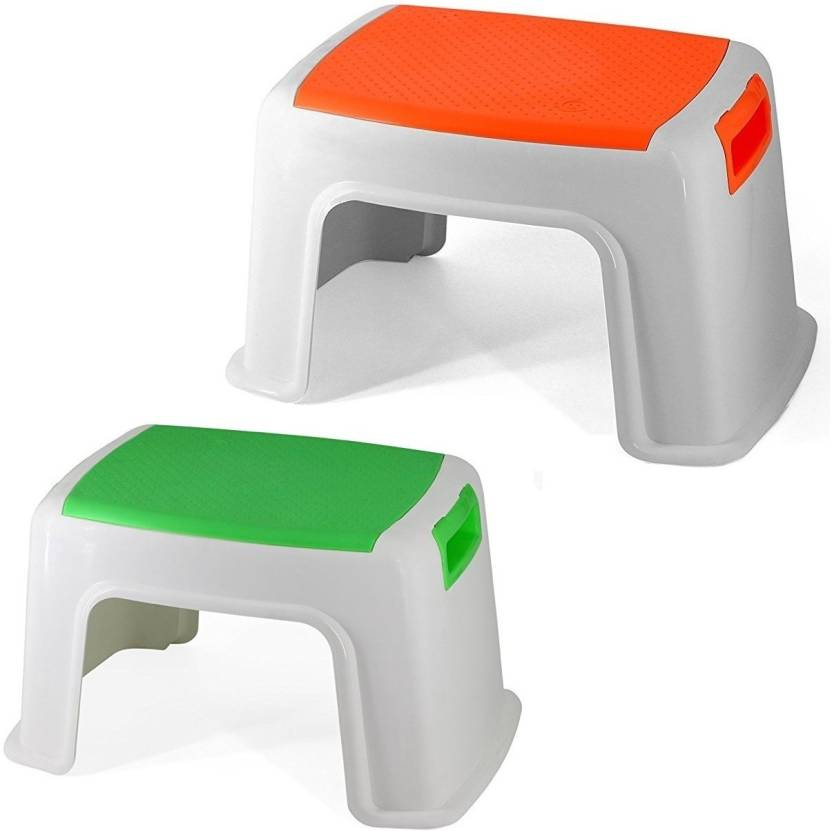 Truphe Heavy Duty Plastic Bathroom Stool Multicolor Pack Of 2