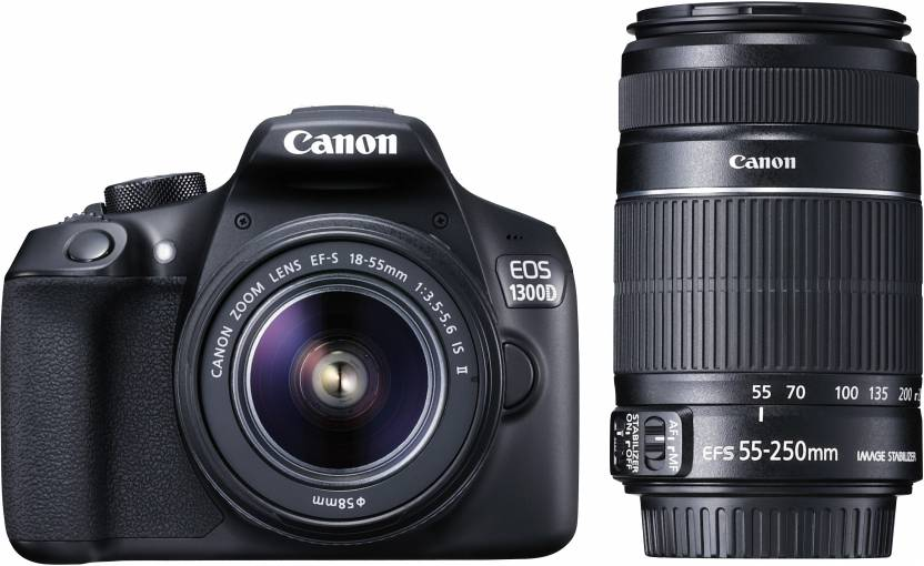 Canon EOS 1300D DSLR Camera Body with Dual Lens: EF-S 18-55 mm IS II + EF-S 55-250 mm F4 5.6 IS II (16 GB SD Card + Camera Bag)  (Black)