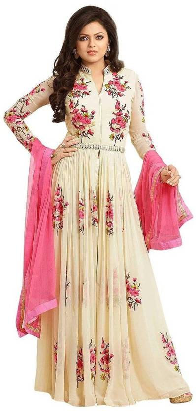 Tulsi Trendz Georgette Embroidered Semi-stitched Salwar Suit Dupatta Material