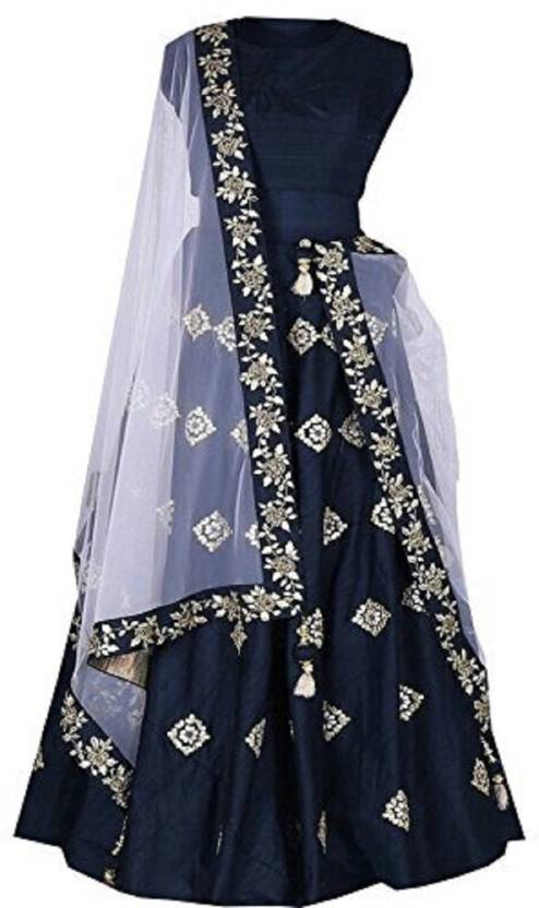 5bfe5f2226 F Plus Fashion Embroidered Semi Stitched Lehenga, Choli and Dupatta Set  (Blue)