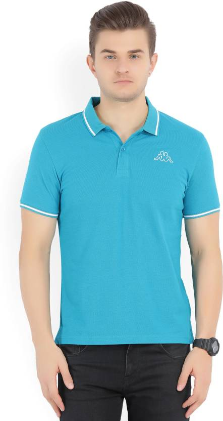8f95471e5 Kappa Woven Men s Polo Neck Blue T-Shirt - Buy TURQUOISE Kappa Woven Men s Polo  Neck Blue T-Shirt Online at Best Prices in India