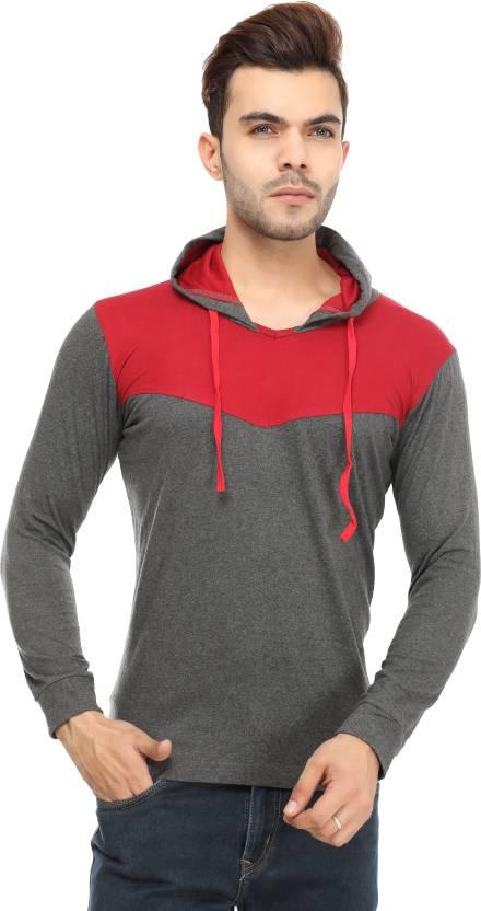 Leemarts Solid Mens Hooded Grey T-Shirt