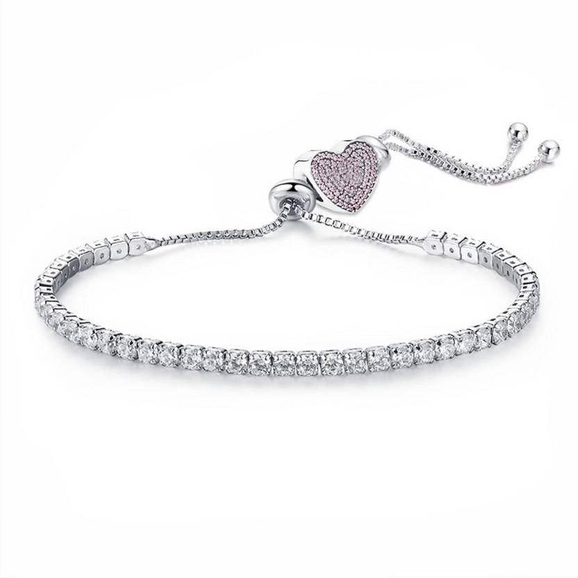 Jewels Galaxy Alloy Crystal Rhodium Tennis Bracelet