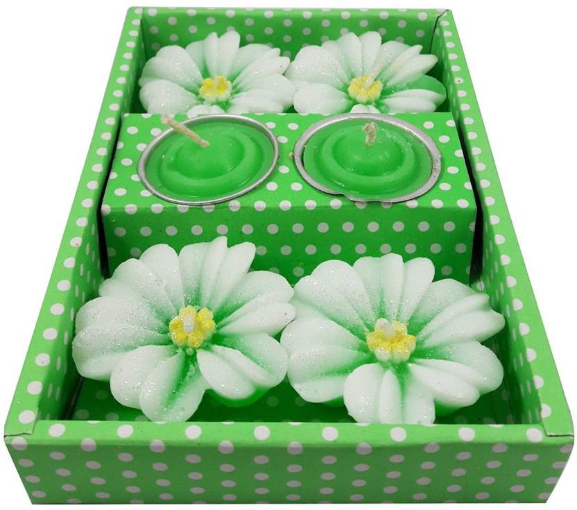 Aanaya Creations 4 Rose Flower Shape Floating Candles For Home Decor Diwali With 2