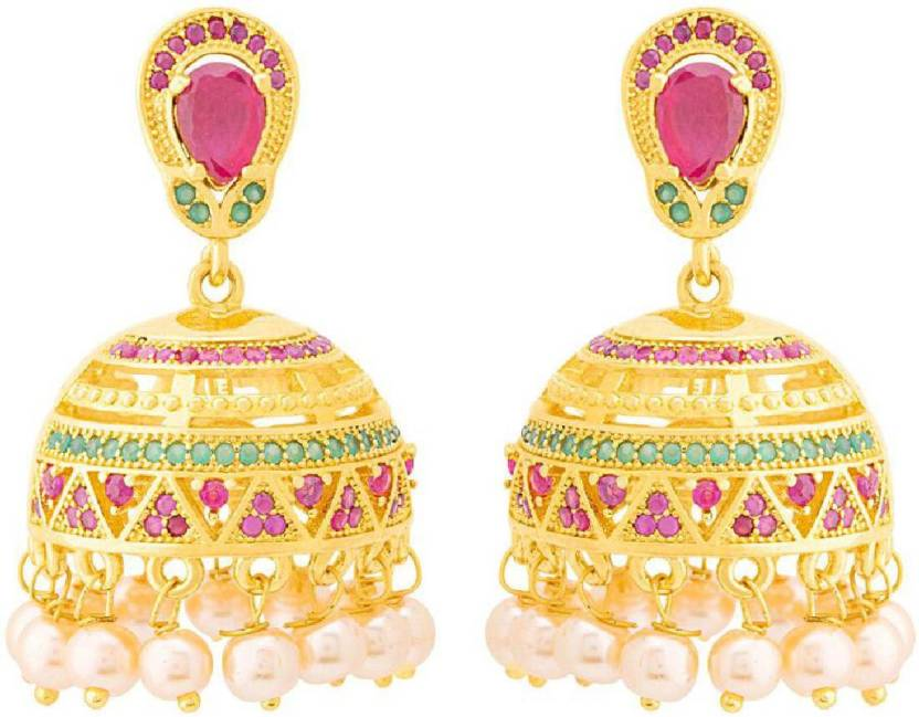 39eae8790 Flipkart.com - Buy Voylla Generic CZ Jhumka Earrings with Pearls Cubic  Zirconia Brass Jhumki Earring Online at Best Prices in India