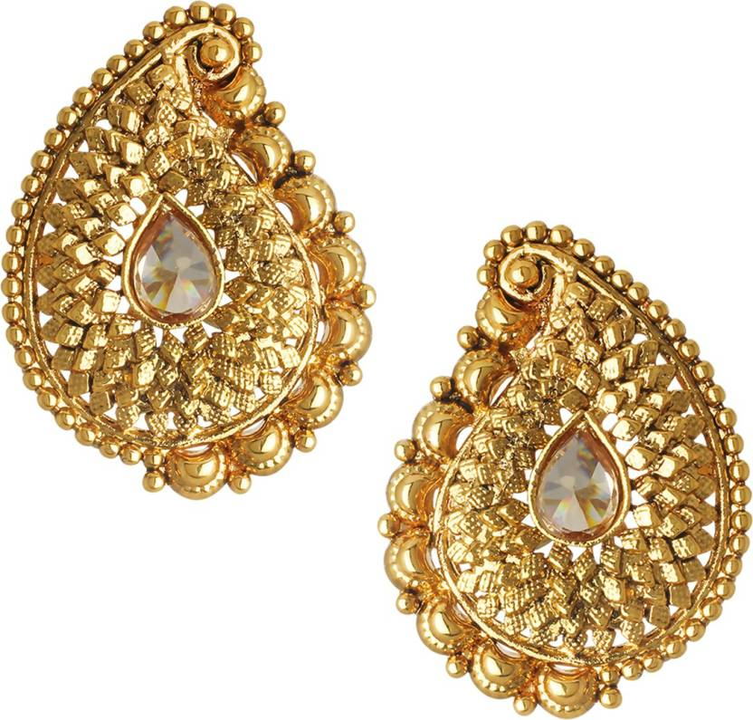 688ee9948 Flipkart.com - Buy Spargz Traditional Gold Plated AD Stone LCT Color  Antique Koyari For Women Diamond Brass Stud Earring Online at Best Prices  in India
