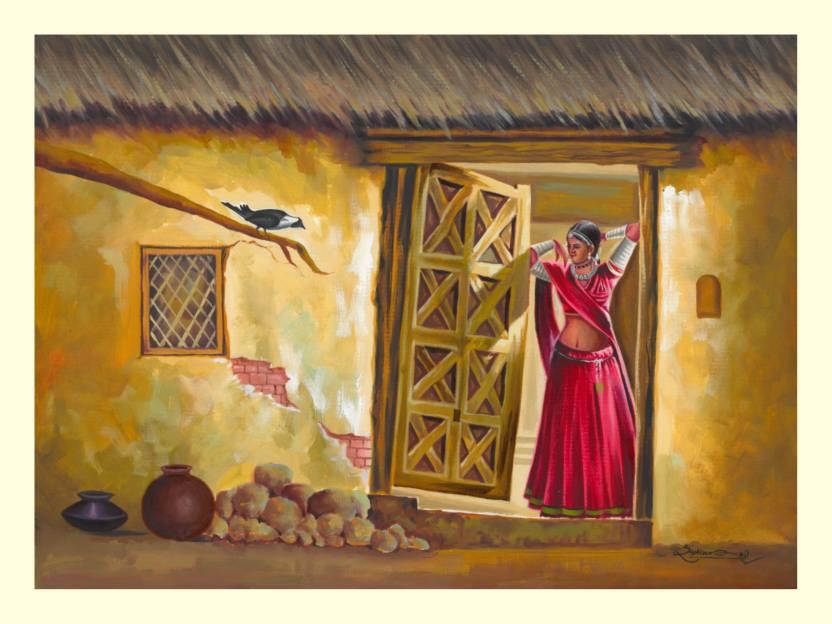 Royal Canvas Art Rajasthani Village Women Painting