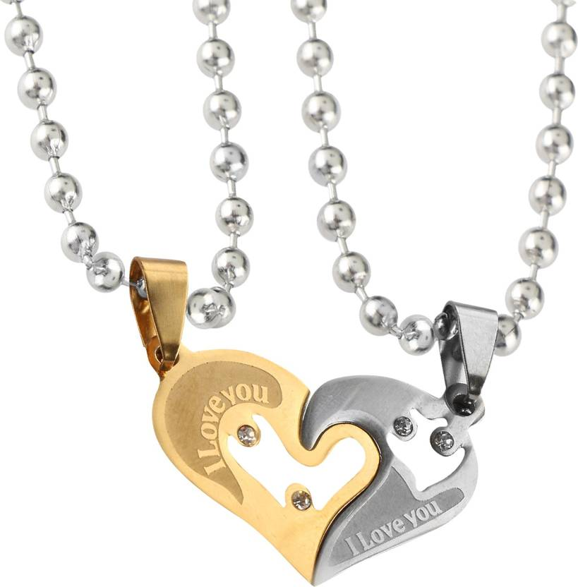 f8ead12182 Anvi Jewellers Look Trendy Couple Heart Lockets With Chain Gold-plated  Stainless Steel Pendant Set Price in India - Buy Anvi Jewellers Look Trendy  Couple ...