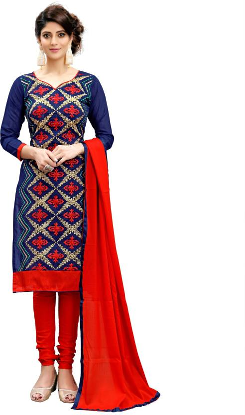 Rudra Fashion Cotton Linen Blend Embroidered Semi-stitched Salwar Suit Dupatta Material