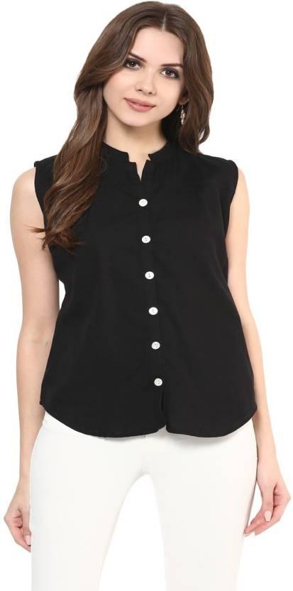 Krapal Women Solid Casual Black Shirt