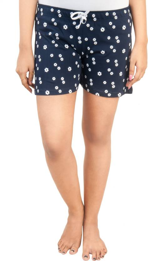 dfe3bbaf24 A9 Floral Print Women Dark Blue Night Shorts - Buy A9 Floral Print Women  Dark Blue Night Shorts Online at Best Prices in India