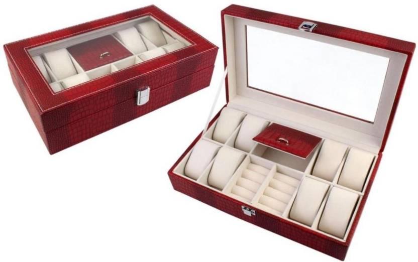 541a190a900 ShopyBucket 12 Slot Grid PU Leather Wrist Watch Display Box Storage Holder  Organizer Case Assorted Color Watch Box (Maroon